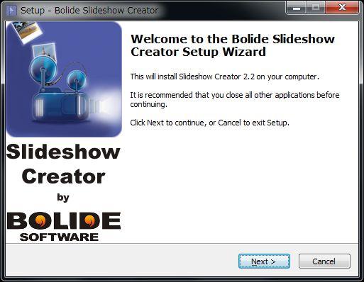 Bolide Slideshow Creatorセットアップウィザード