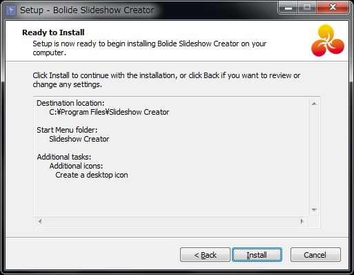 Bolide Slideshow Creatorインストール準備完了