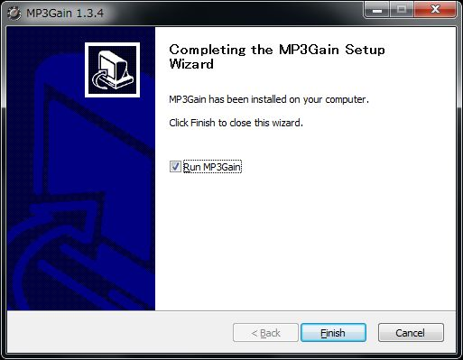 MP3Gainインストール完了