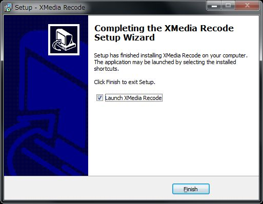 XMedia Recodeセットアップインストール完了