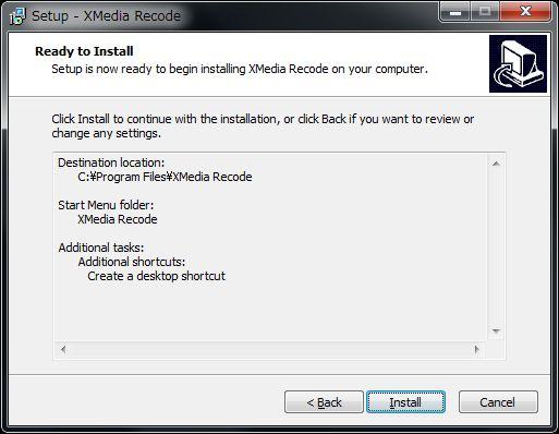 XMedia Recodeセットアップインストール開始