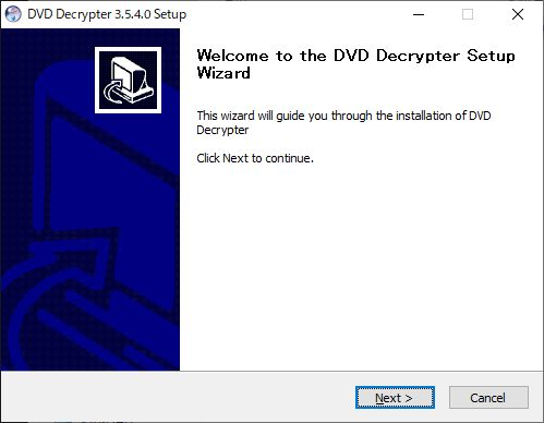 DVD Decrypter windows10インストール画面