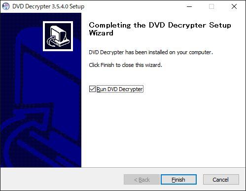 DVD Decrypter windows10インストール完了