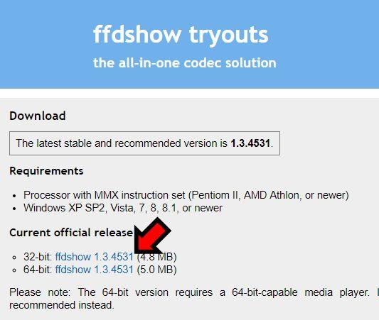ffdshowダウンロードサイト
